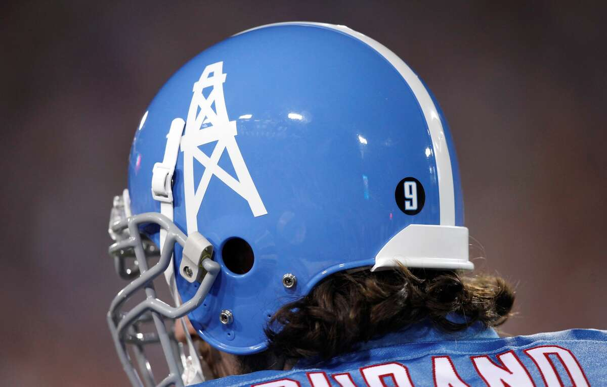 Oilers throwback helmets the Tennessee Titans wore during the Pro Football Hall of Fame Game in the 2009 preseason.