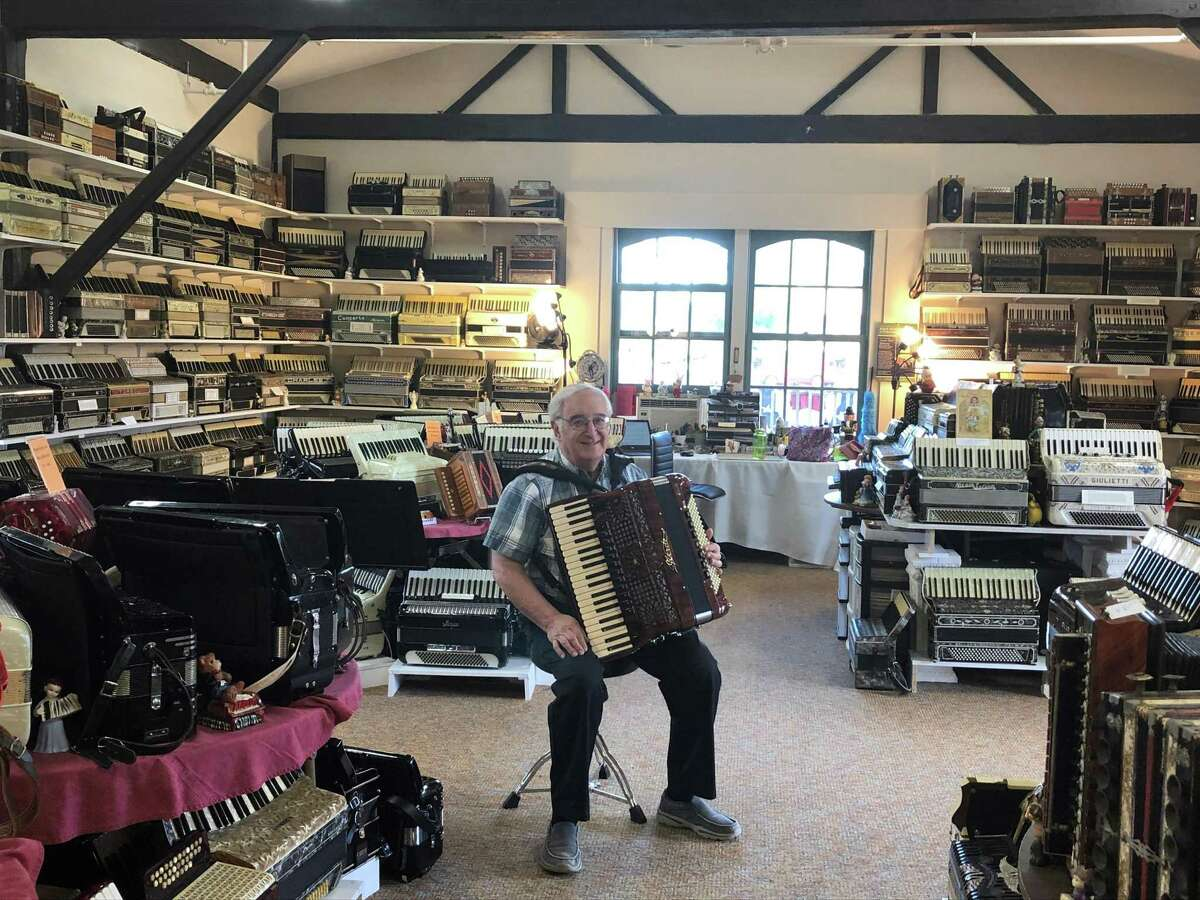 More than 400 accordions have been moved into the recently-restored Canaan Union Railroad station in the heart of North Canaan by long-time collector Angelo Paul Ramunni.