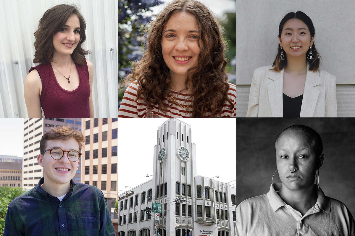 The San Francisco Chronicle 2021 fall interns and fellows, clockwise from top left: Katie Licari, Emma Stiefel, Stephanie Zhu, The Chronicle building and Andres Picon.