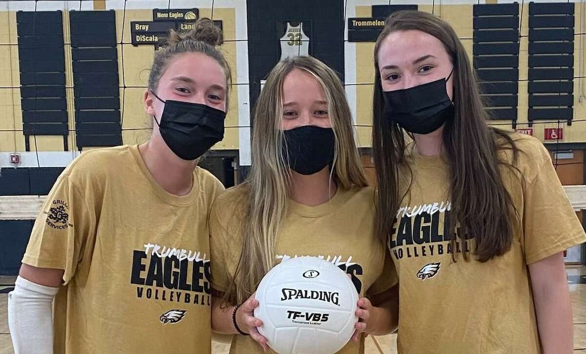 Maggie Carley, Jamie Willix and Jamie McPartland are Trumbull girls' volleyball captains.
