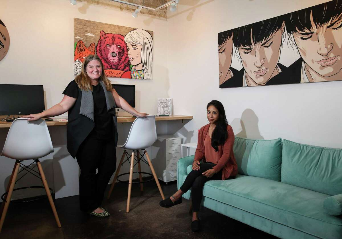 Marci Dallas, left, executive director of Fresh Arts, and Angela Carranza, managing director, pose for a portrait Wednesday, Sept. 8, 2021, at their offices in Houston.