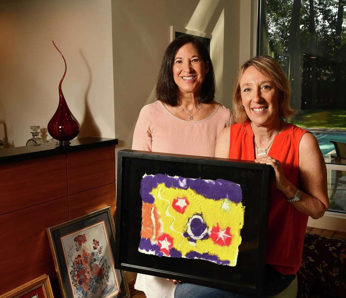 Art for All Homes founders Catherine Wile and Lisa Sheinbaum at Wile's home Thursday July 26,2021