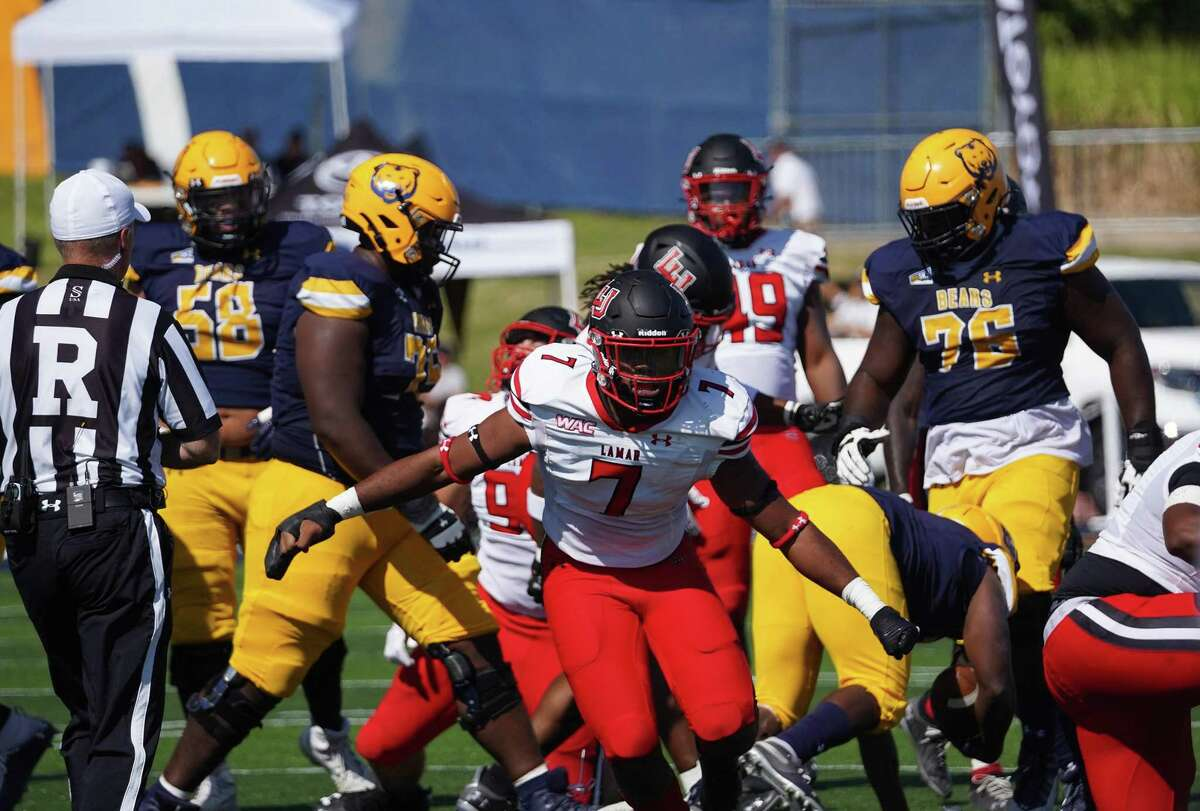 Lamar linebacker Tyler Jackson celebrates after a tackle during the Cardinals win over Northern Colorado last Saturday.