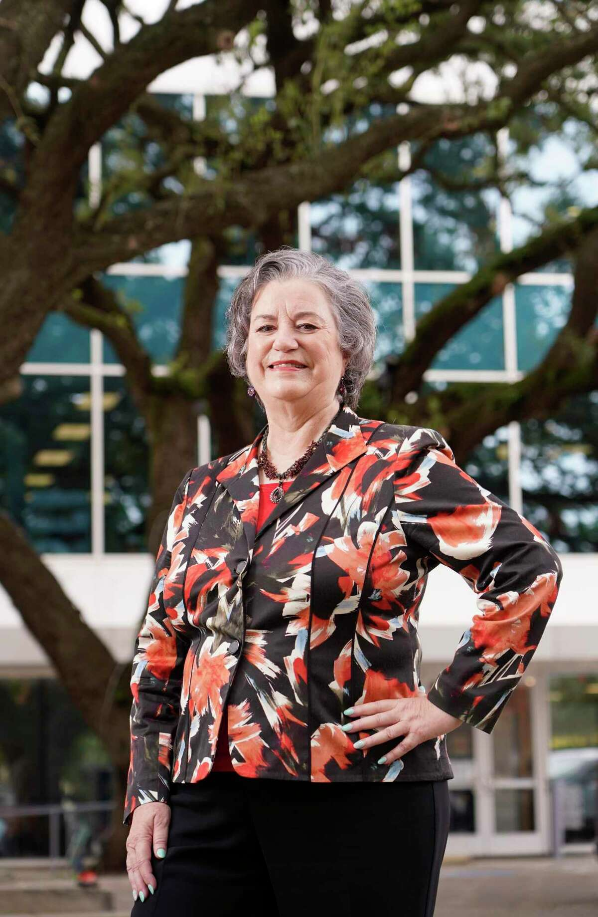 Katy Caldwell, CEO, is shown outside Legacy Community Health, 1415 California St., Wednesday, Sept. 15, 2021 in Houston. She will be retiring after 25 years.