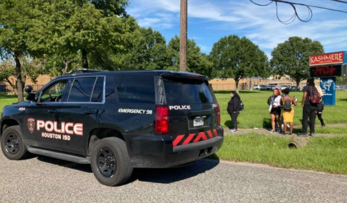 Police investigate a shooting at Trinity Gardens Park at 5098 Bennington, across from Kashmere High School, on Wednesday, Sept. 22, 2021.