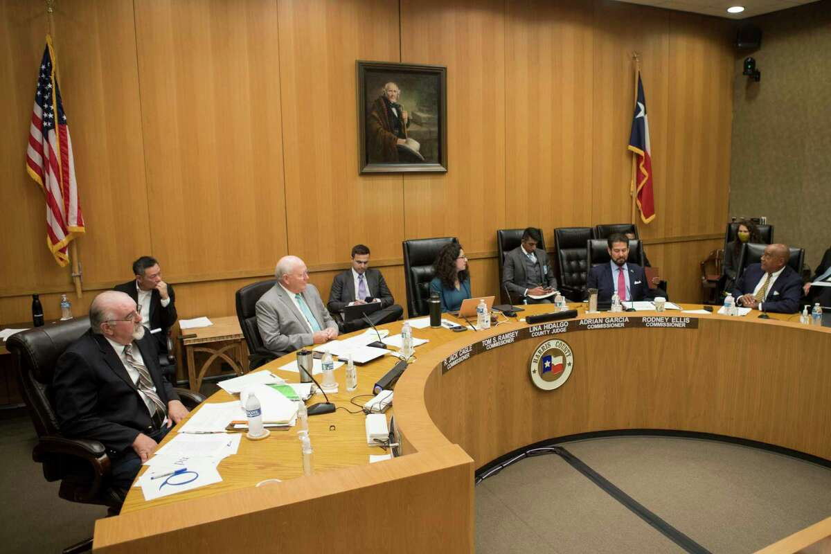 Harris County Commissioners Court, from left, Jack Cagle, Tom Ramsey, Judge Lina Hidalgo, Adrian Garcia and Rodney Ellis Tuesday, July 20, 2021 in Houston.