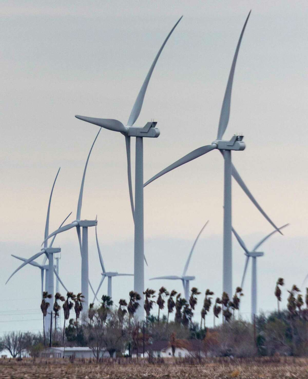 Wind turbines spin Tuesday, March 2, 2021 near Raymondville in the Rio Grande Valley in far south Texas.