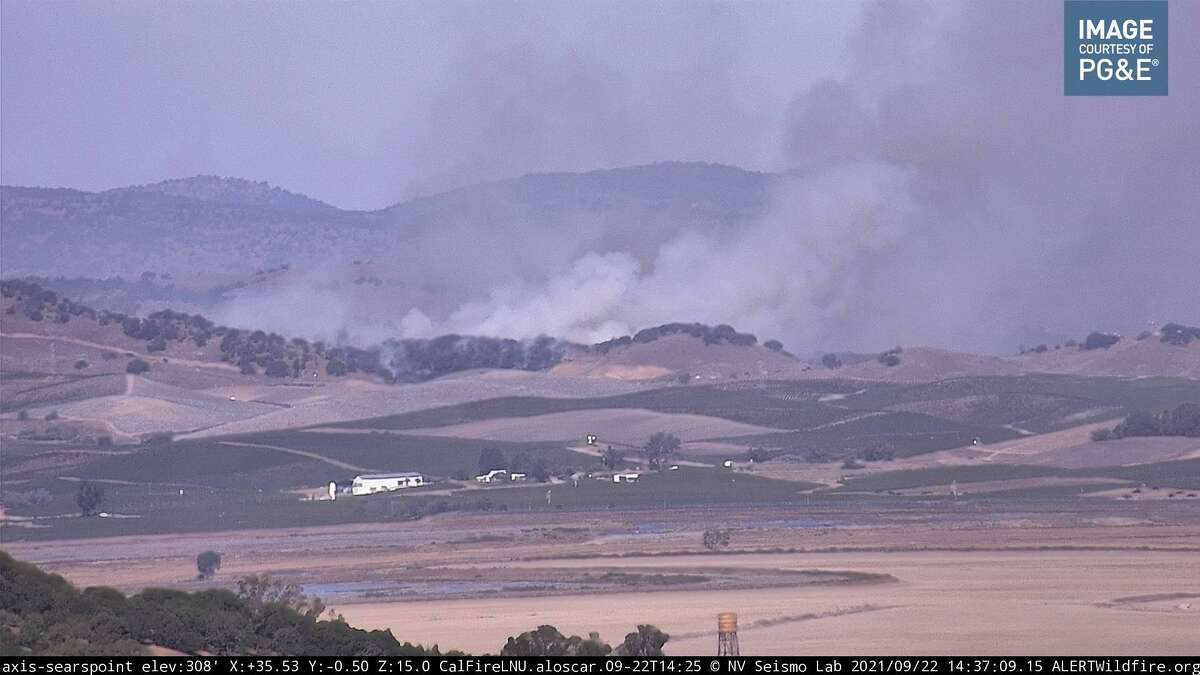 A vegetation fire burning near Fremont Drive and Napa Road in Sonoma County.