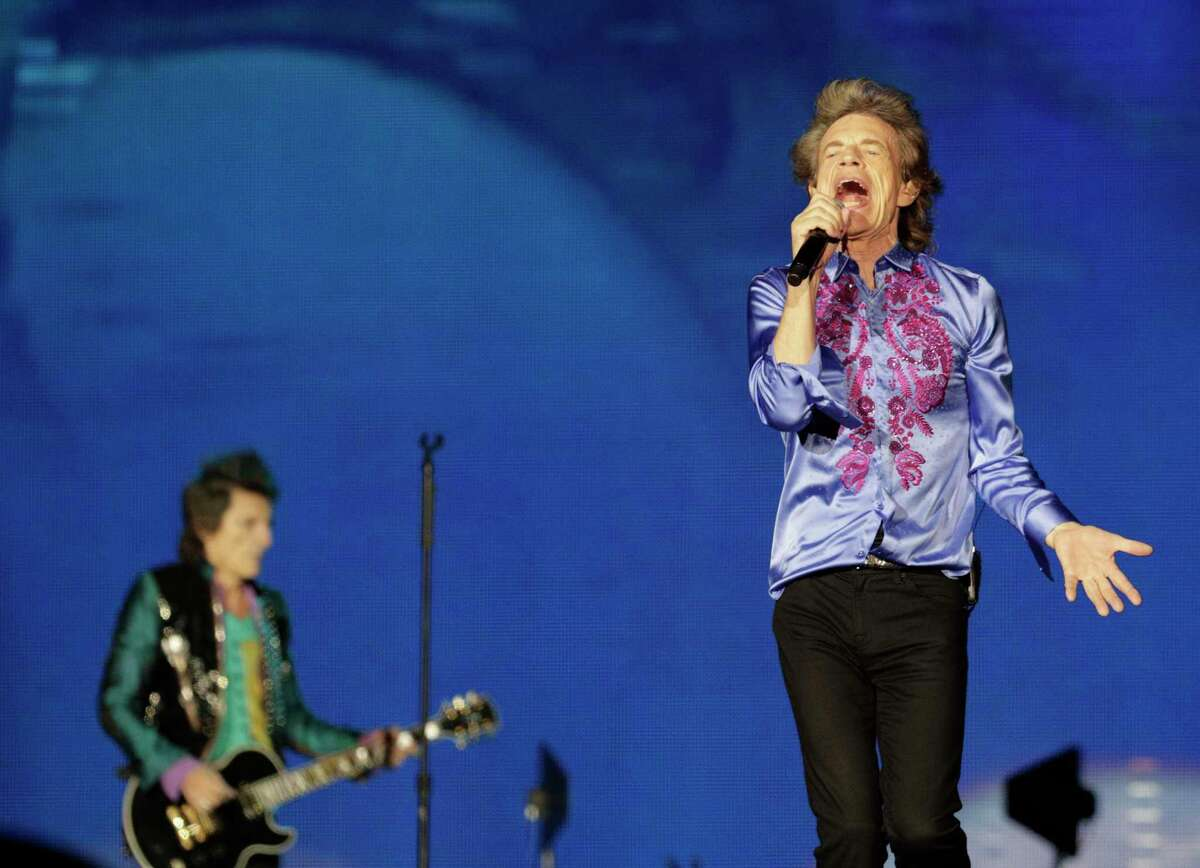 Mick Jagger and Ronnie Wood on stage as the Rolling Stones performed during the No Filter Tour at Levi's Stadium in Santa Clara, Calif., on Sunday, August 18, 2019.