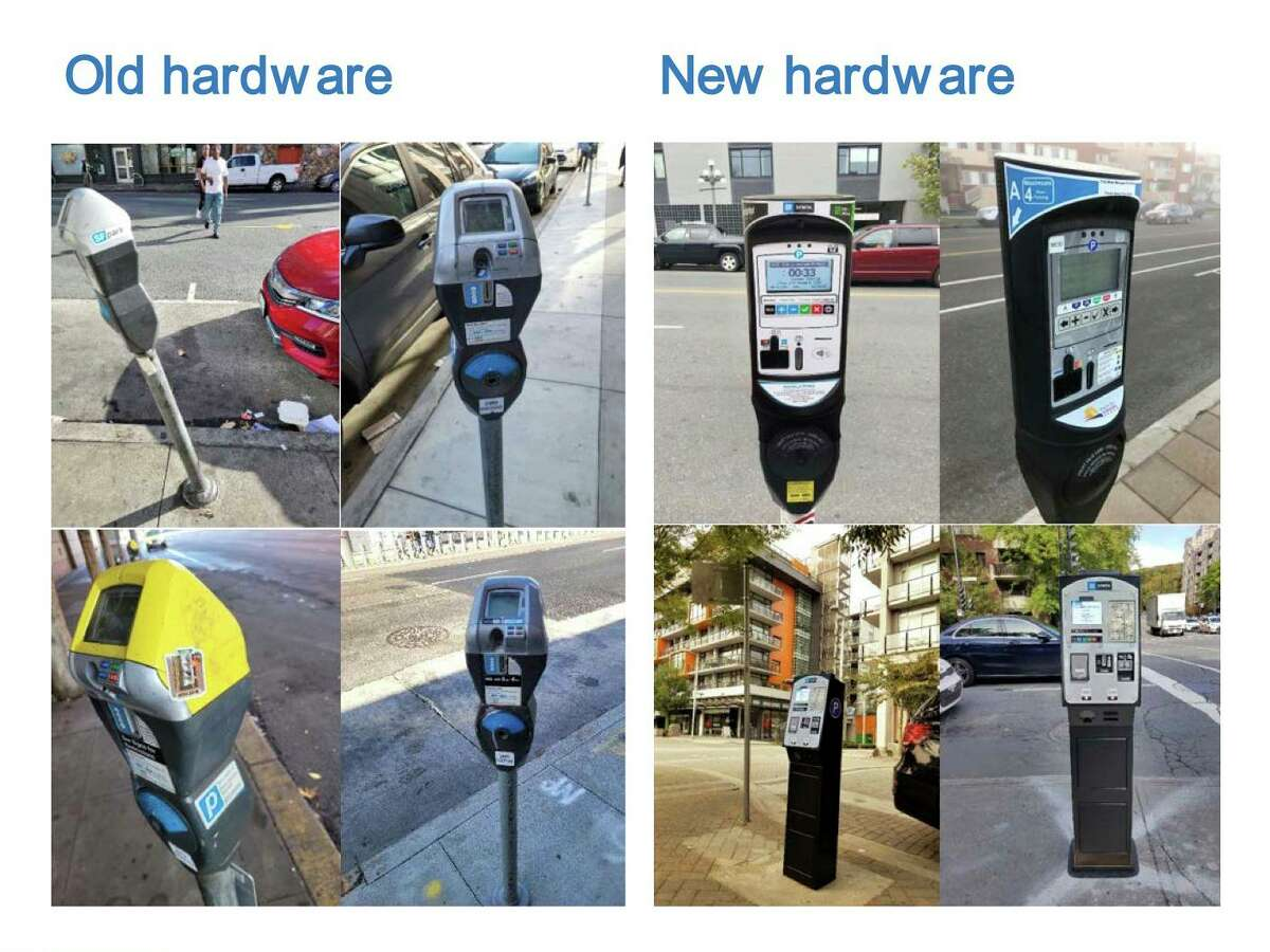 New parking meters purchased by the San Francisco Municipal Transportation Agency would have brighter and wider screens compared with older hardware, according to SFMTA renderings.