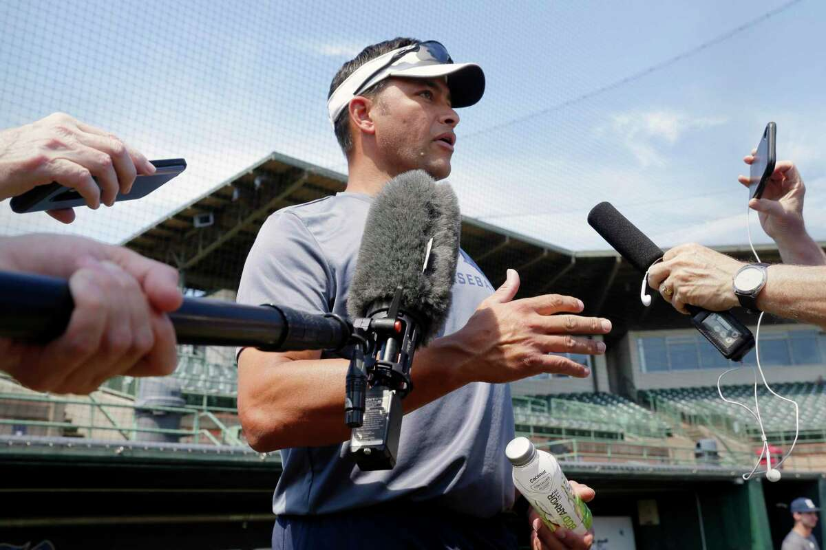 Rice University first year head baseball coach Jose Cruz Jr. holds a press conference before the first scrimmage of the Fall Ball season at Reckling Park Wednesday, Sept. 22, 2021 in Houston, TX.