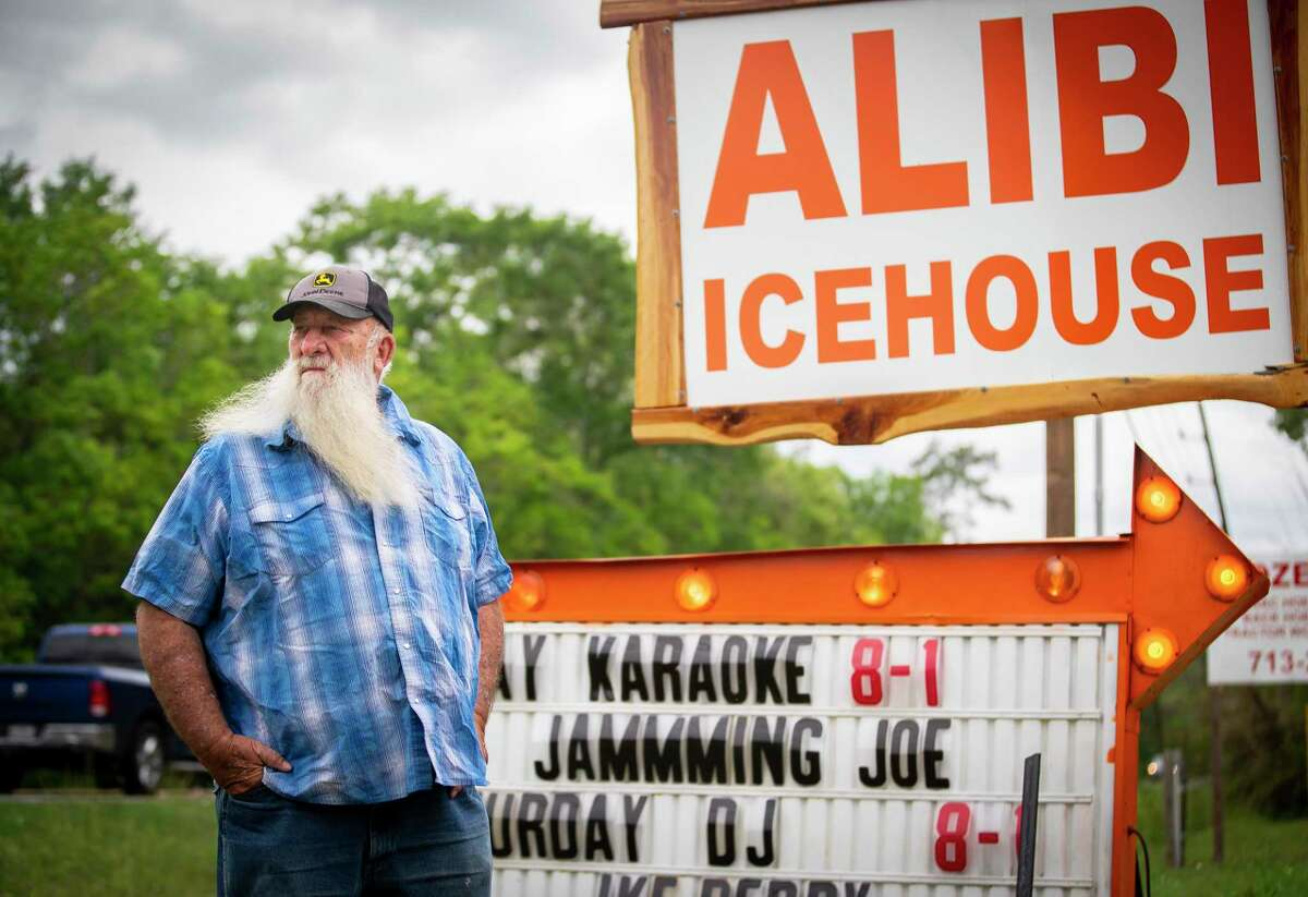 Steve Tallent, photographed outside of the icehouse he opened last year in Liberty County, has watched property taxes in Mont Belvieu where he owns property rise and rise. He recently fell behind on his property taxes. Photographed, Thursday, April 15, 2021, in Mont Belvieu.