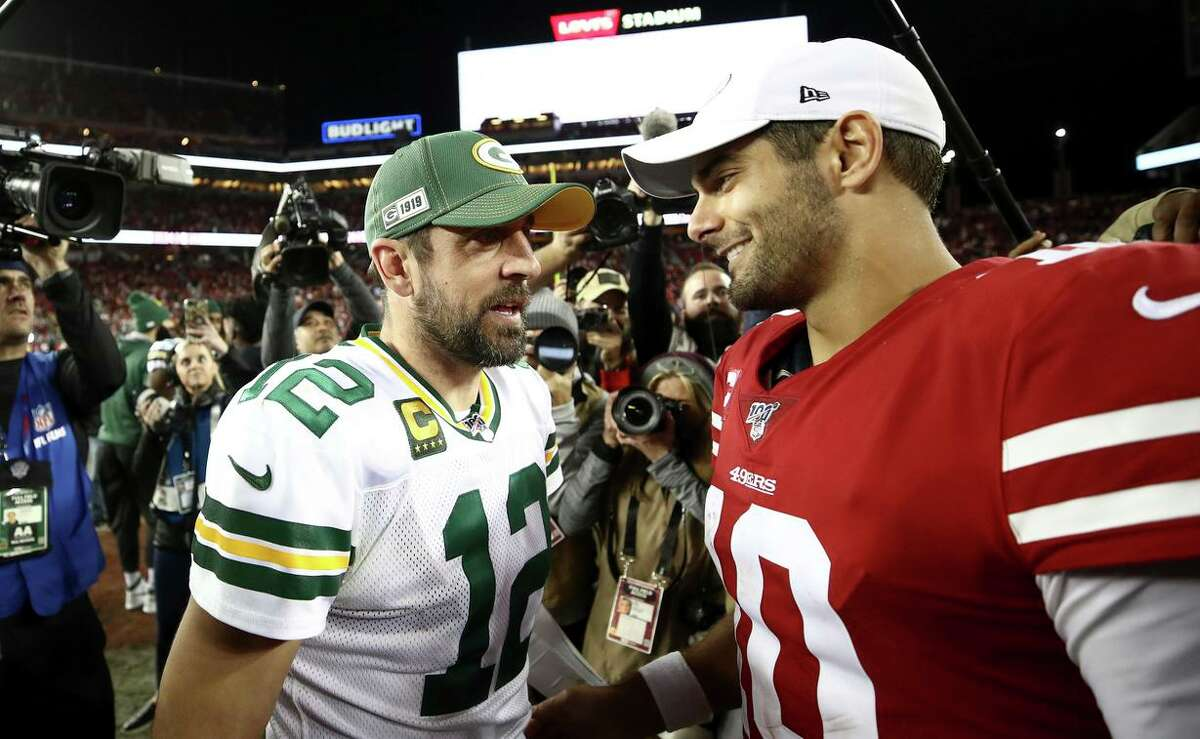 Green Bay's Aaron Rodgers and the 49ers' Jimmy Garoppolo greet each other after the 49ers' 37-8 victory at Levi's Stadium on Nov. 24, 2019. The win moved S.F. to 10-1.