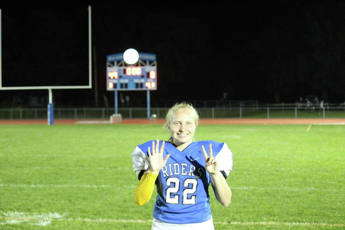 Icbabod Crane senior kicker Abby Dolge went 7-for-7, a school record, in a 49-0 win against Coxsackie-Athens. Photo courtesy Todd DiGrigoli