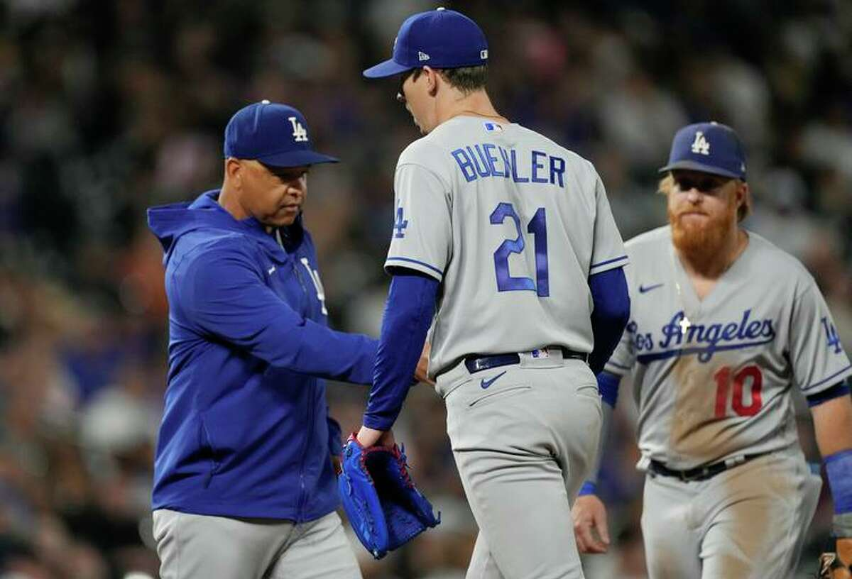 """Dodgers manager Dave Roberts pulls Walker Buehler, who allowed five runs in 3 ?..."""" innings."""
