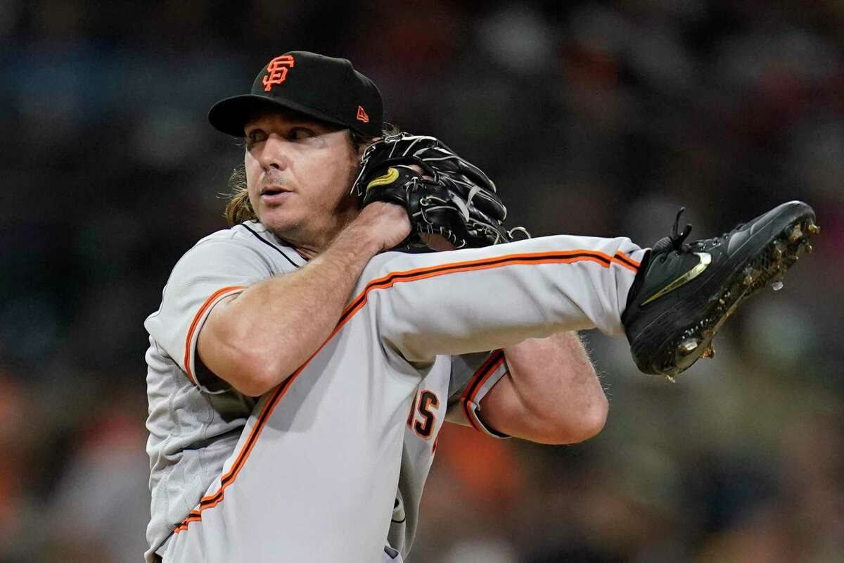 San Francisco Giants starting pitcher Scott Kazmir works against a San Diego Padres batter during the first inning of a baseball game Wednesday, Sept. 22, 2021, in San Diego. (AP Photo/Gregory Bull)