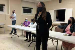 3rd District Town Council candidate Lesette Franceschi speaks at a Stratford Democratic Town Committee meeting Sept. 22, 2021.