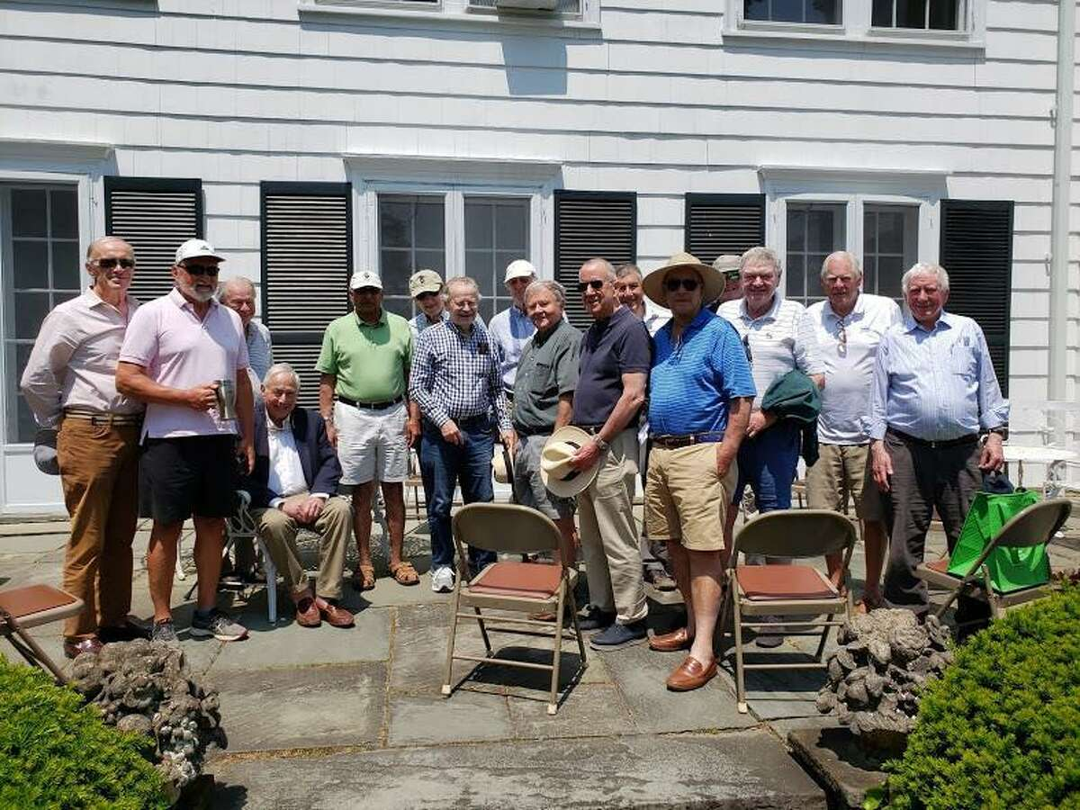 The Darien Community Association has meeting, or gathering space with the flexibility of various-sized rooms, and outdoor options, for groups, or organizations, who are looking for meetings, or gathering spaces. The Darien Men's Association, shown, has been enjoying the community association's formal garden, and patrio for in-person social gatherings, amid the coronavirus pandemic.
