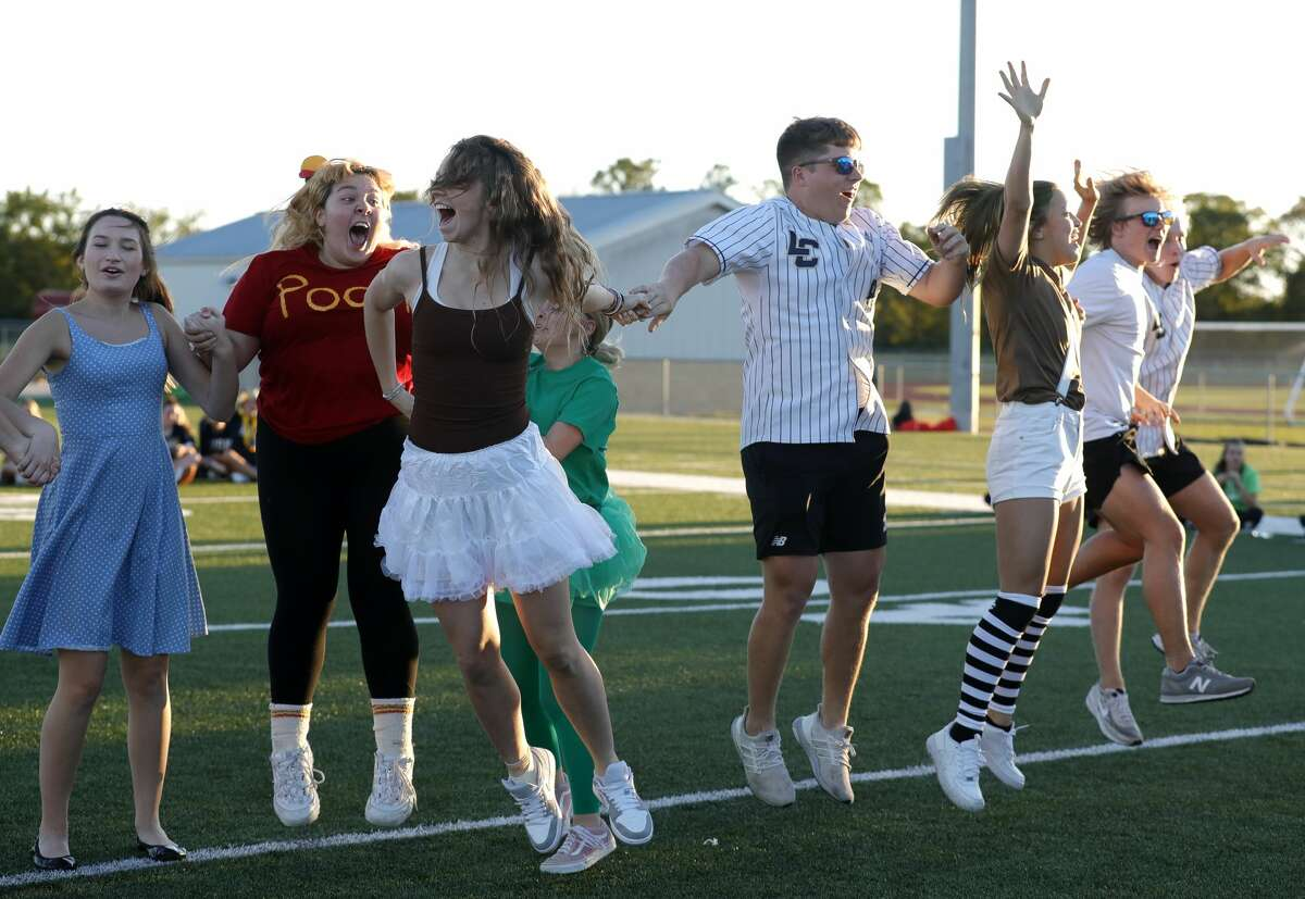 Lake Creek seniors cheer after winning a game against other classes during a homecoming parade and pep rally at Lake Creek High School, Wednesday, Sept. 22, 2021, in Montgomery. The school's football team will take on Fulshear Friday for its homecoming game.