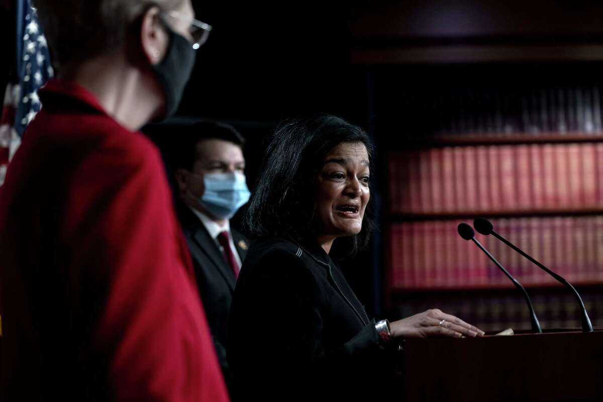 Rep. Pramila Jayapal, D-Wash., during a news conference at the U.S. Capitol in Washington, D.C., on March 1, 2021.