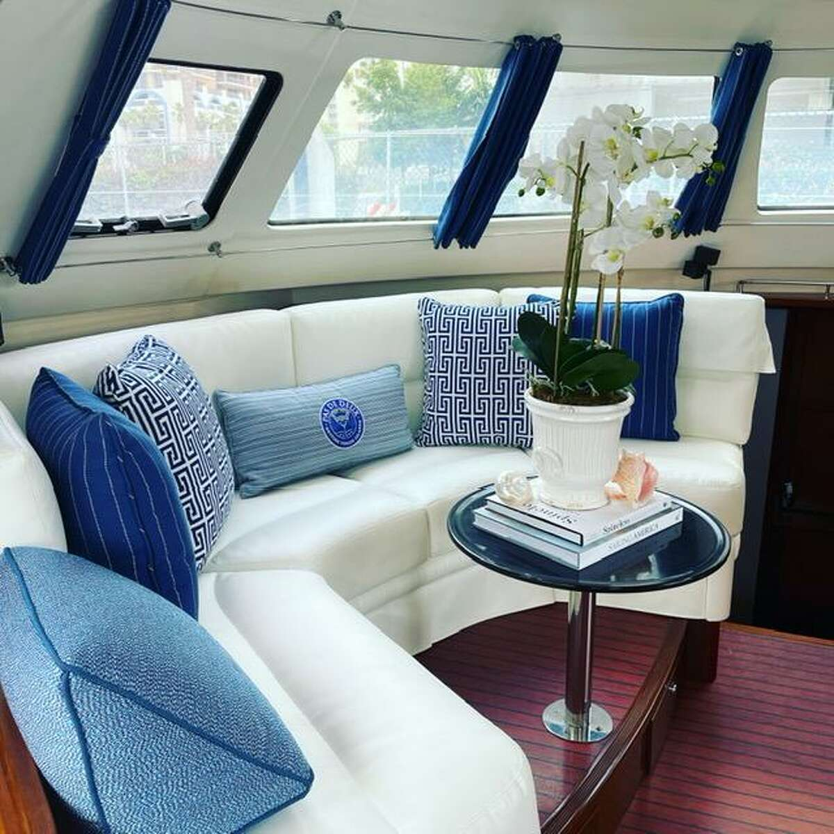 The main salon in the redecorated boat, the Pas de Deux, of Dr. Mike and Bethany McCann.