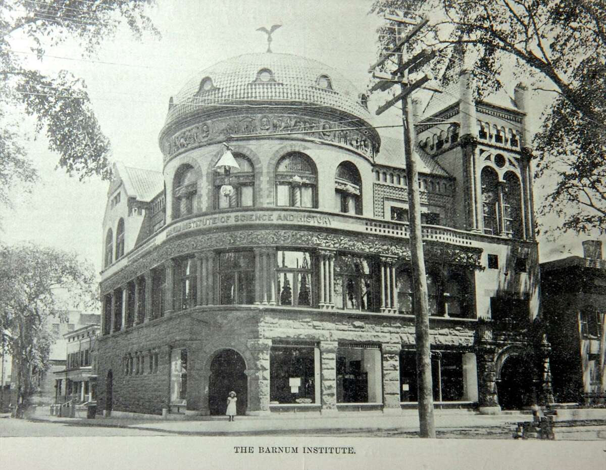 This vintage photograph shows the Barnum Institute of Science and History, now the Barnum Museum, which opened in Bridgeport in 1893.