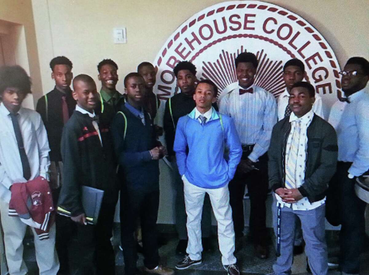 Stamford's Angela Edwards has been organizing bus trips for high school students to visit historically Black colleges and universities (HBCU) for 30 years. Above, some students visit Morehouse College in Atlanta on a past trip.
