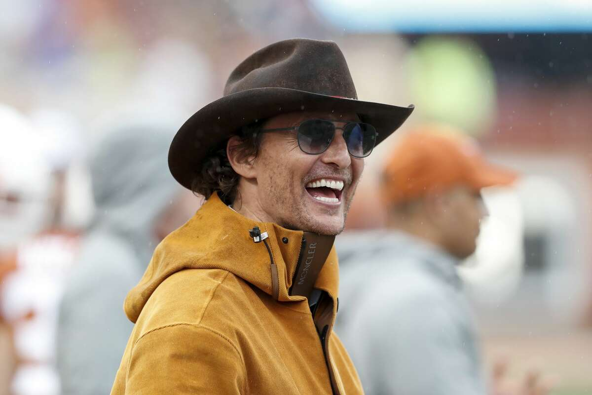 AUSTIN, TX - NOVEMBER 29: Actor Matthew McConaughey watches on the Texas Longhorns sideline in the second half against the Texas Tech Red Raiders at Darrell K Royal-Texas Memorial Stadium on November 29, 2019 in Austin, Texas. (Photo by Tim Warner/Getty Images)