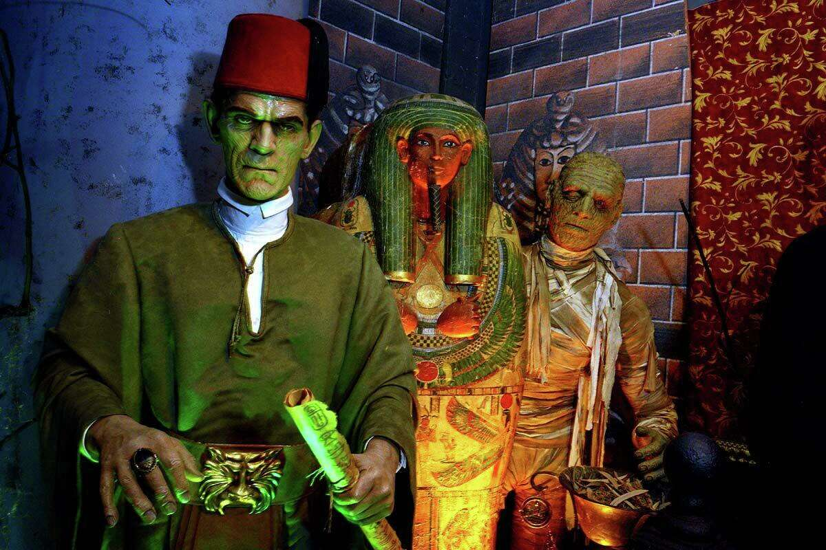 Boris Karloff's Ardeth Bay character from 1932 'The Mummy' (left) and Lon Chaney Jr.'s mummy character from 1944 'The Mummy's Curse, seen here on display at Witch's Dungeon in Plainville, Connecticut, August 25, 2021.