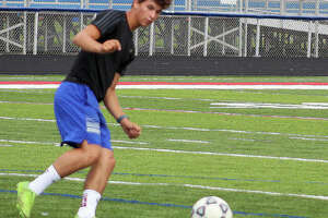Trieton Park of Carlinville, shown in a practice session, scored the only goal of the game in Wednesday night's 1-0 Cavies victory over North Mac in Carlinville. He was assisted by Levi Yudinsky. Park is third in scoring in the St. Louis area with 20 goals and nine assists.