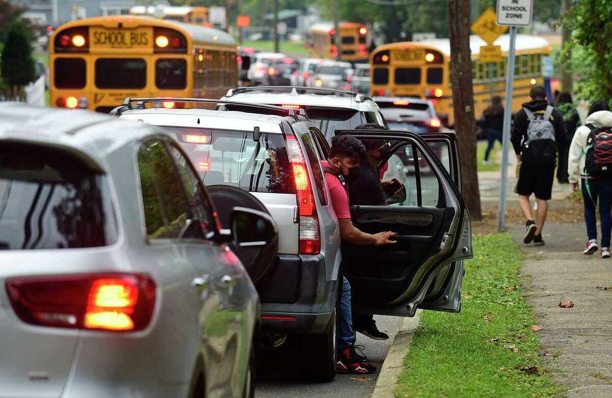 Traffic near Norwalk High School on a recent morning.