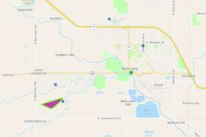 The Consumers Energy Outage Map shows locations without power in Midland County on Thursday, Sept. 23, 2021.