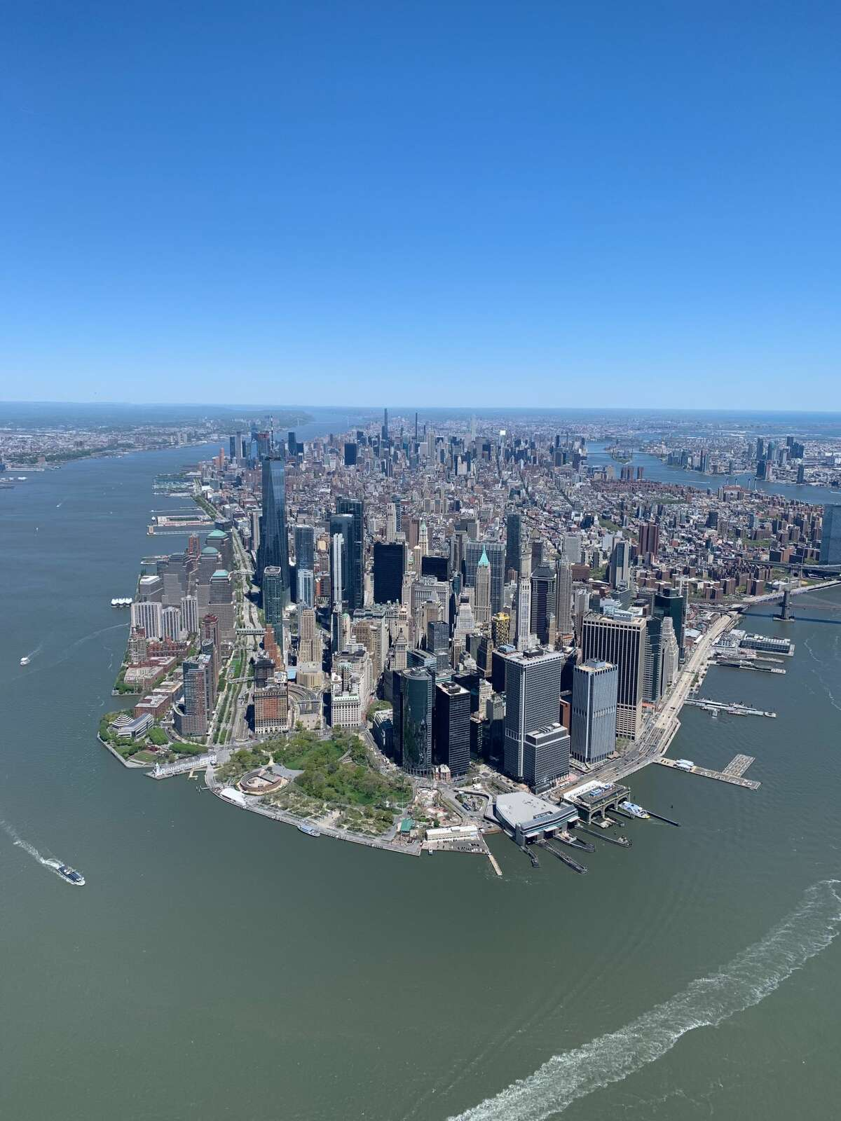 This bird's-eye view of lower Manhattan was taken during an open-door helicopter ride provided by FlyNYON, a business based in Kearny, N.J. (Jessica Kelly/For the Times Union)