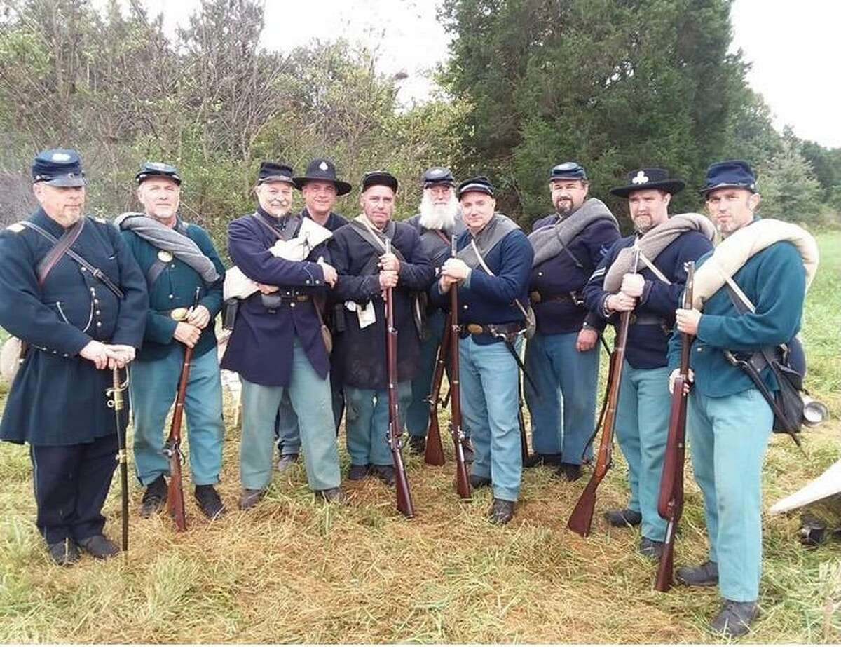 """Members of the 8th Regiment Connecticut Volunteers, Company A are participating in the West Haven centennial exhibit, """"Hubbard Farms,"""" Sept. 25 in Hubbard Farms Park on Hubbard Road."""