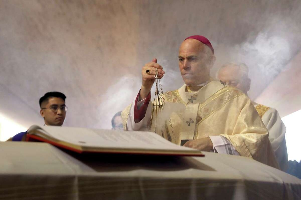 """Salvatore Cordileone, the archbishop of San Francisco, leads a prayer at St. Mary's Cathedral in San Francisco. Cordileone has called the Women's Health Protection Act of 2021 a """"heinous evil."""""""