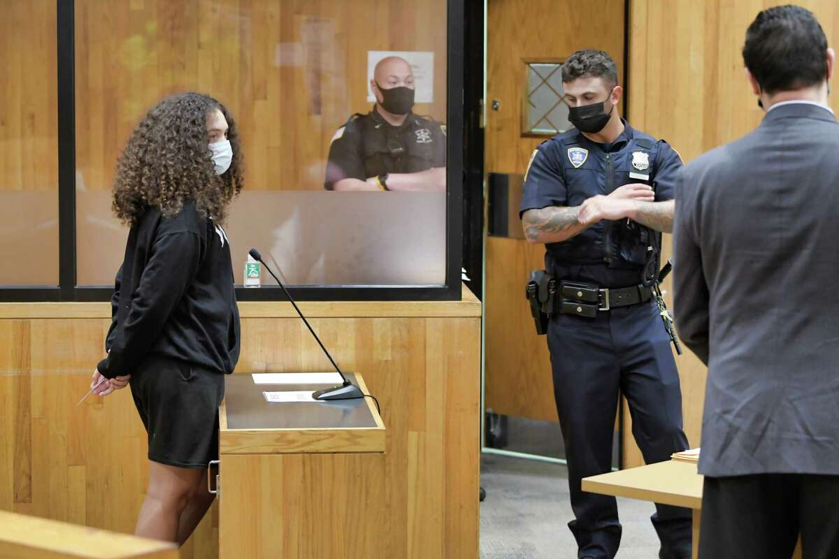 Mikayla Foster appears in Schenectady City Court for her arraignment on Thursday, Sept. 23, 2021, in Schenectady, N.Y. Two Black Lives Matter activists were charged for screaming at police during a community event in August.