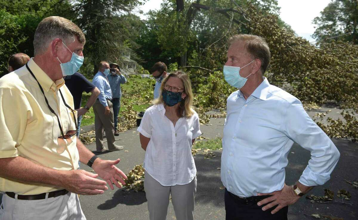 State Sen.Julie Kushner, D-24, in August 2020 alongside Gov. Ned Lamont [right] and TJ Wiedle, director of emergency management for the city of Danbury.