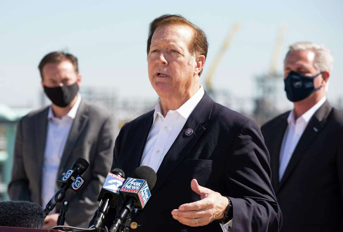 U.S. Representative Randy Weber talks about the negative impact President Joe Biden's energy policies a during press conferenceTuesday, Feb. 2, 2021, at Houston Ship Channel in Houston. Mmbers of the Republican Houston delegation participated the roundtable with Texas oil and gas workers.