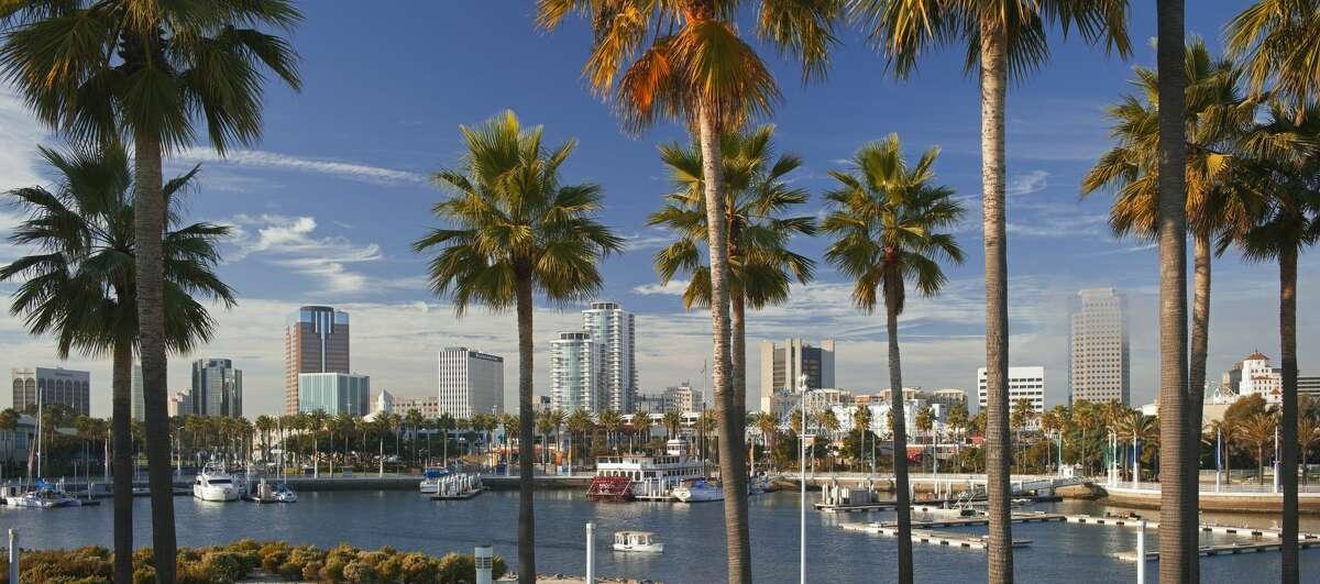 The Long Beach skyline across Rainbow Harbor from Shoreline Aquatic Park.