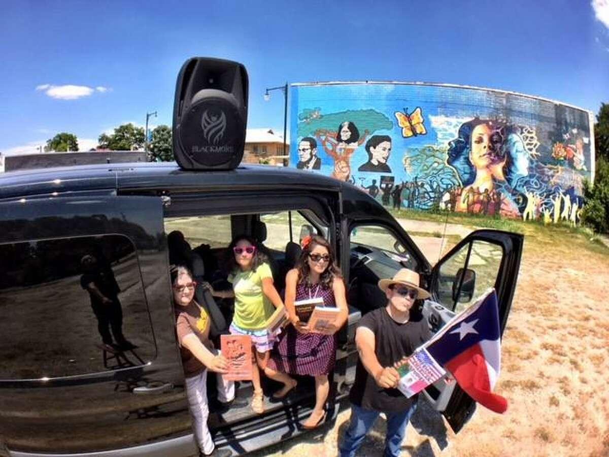 Stalina Villarreal, Xitlali Macia, Claudia Macias and Tony Diaz arrive at the Librotraficante Underground Library in San Antonio during the 2017 Librotraficante Caravan to Tucson, Arizona.
