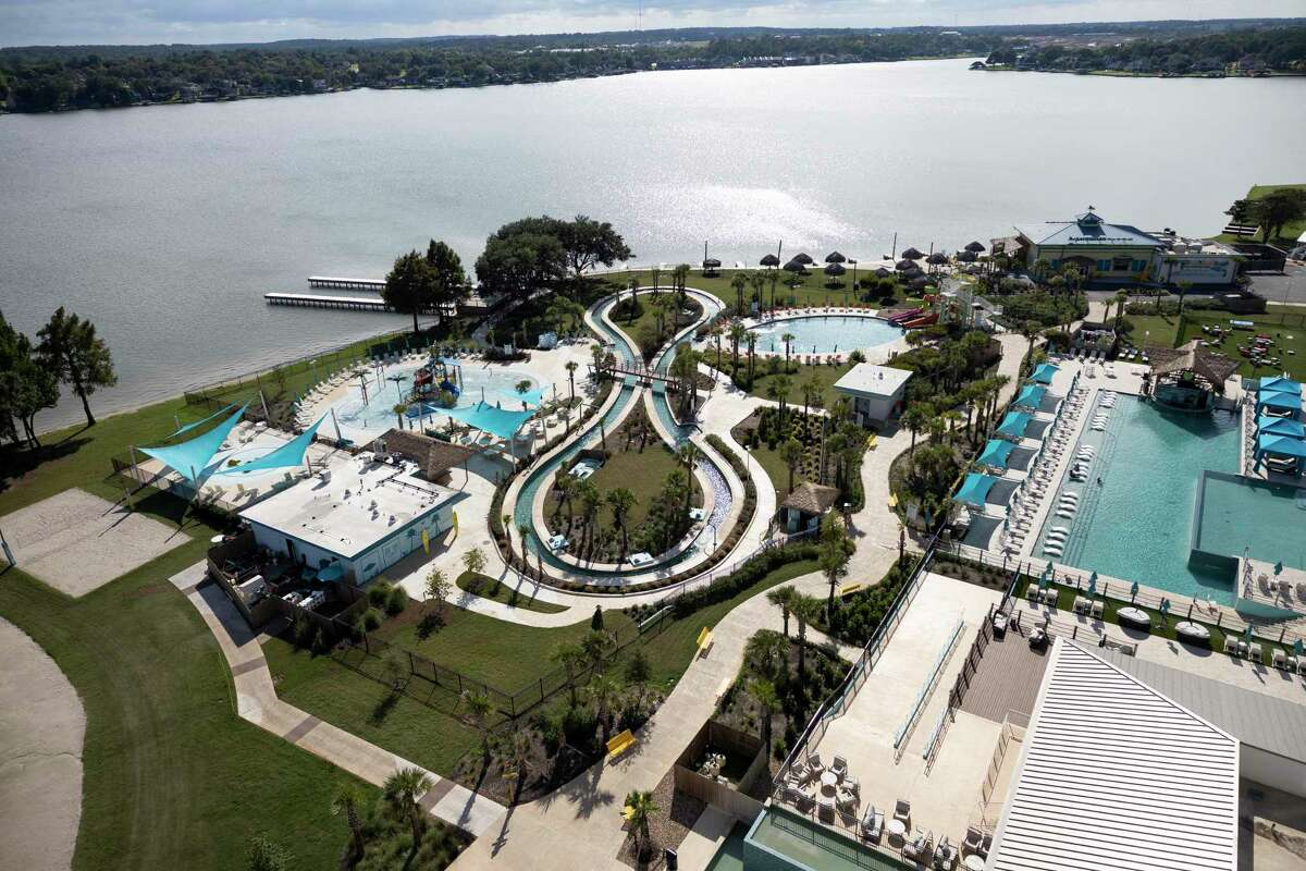 The pool area at Margaritaville is seen, Wednesday, Sept. 15, 2021, in Lake Conroe.