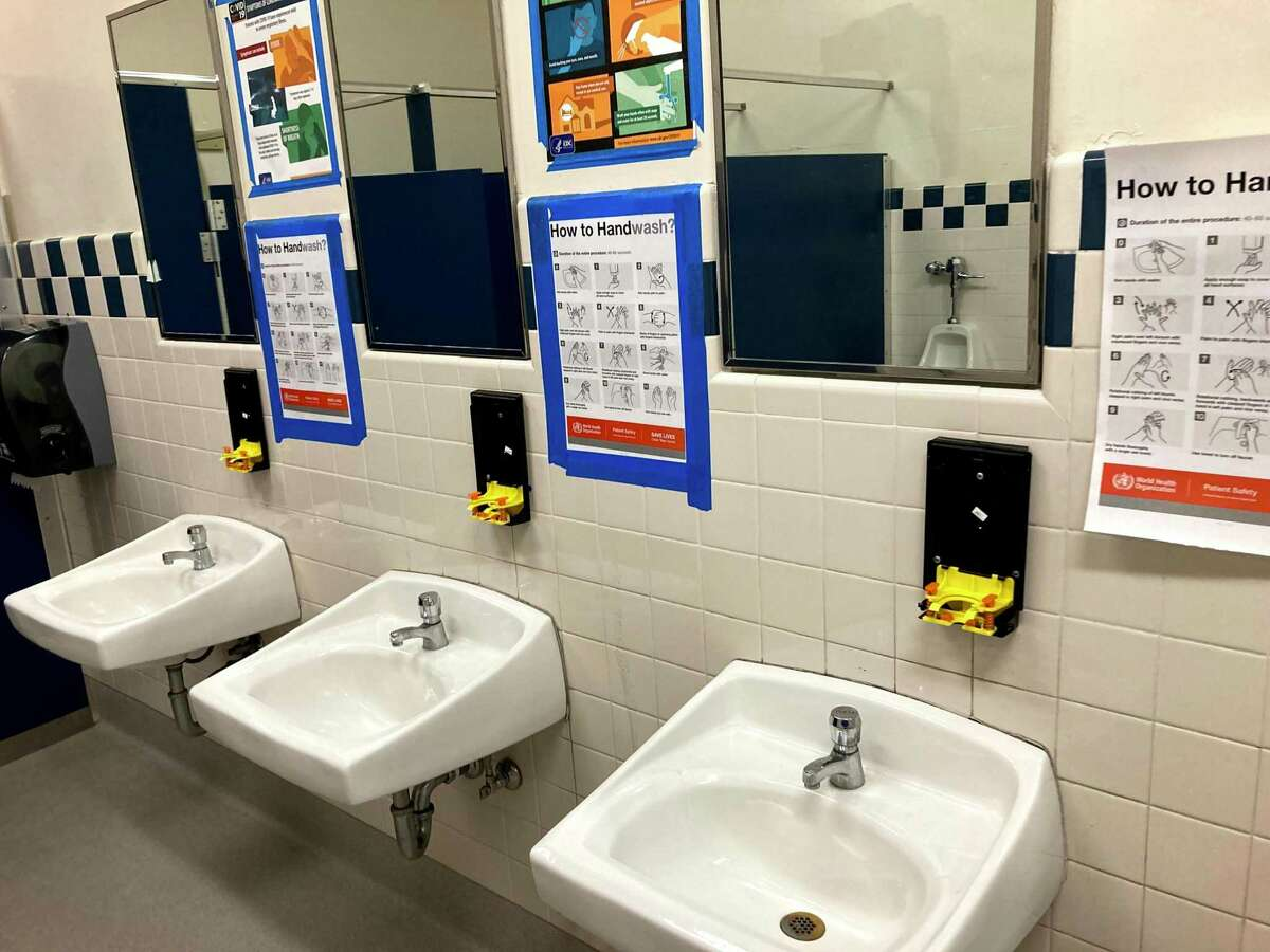 Restroom damage is shown at Harvet Park Middle School in Pleasanton. A viral social media challenge on TikTok has encouraged students in across the U.S. to post videos of themselves vandalizing school restrooms.