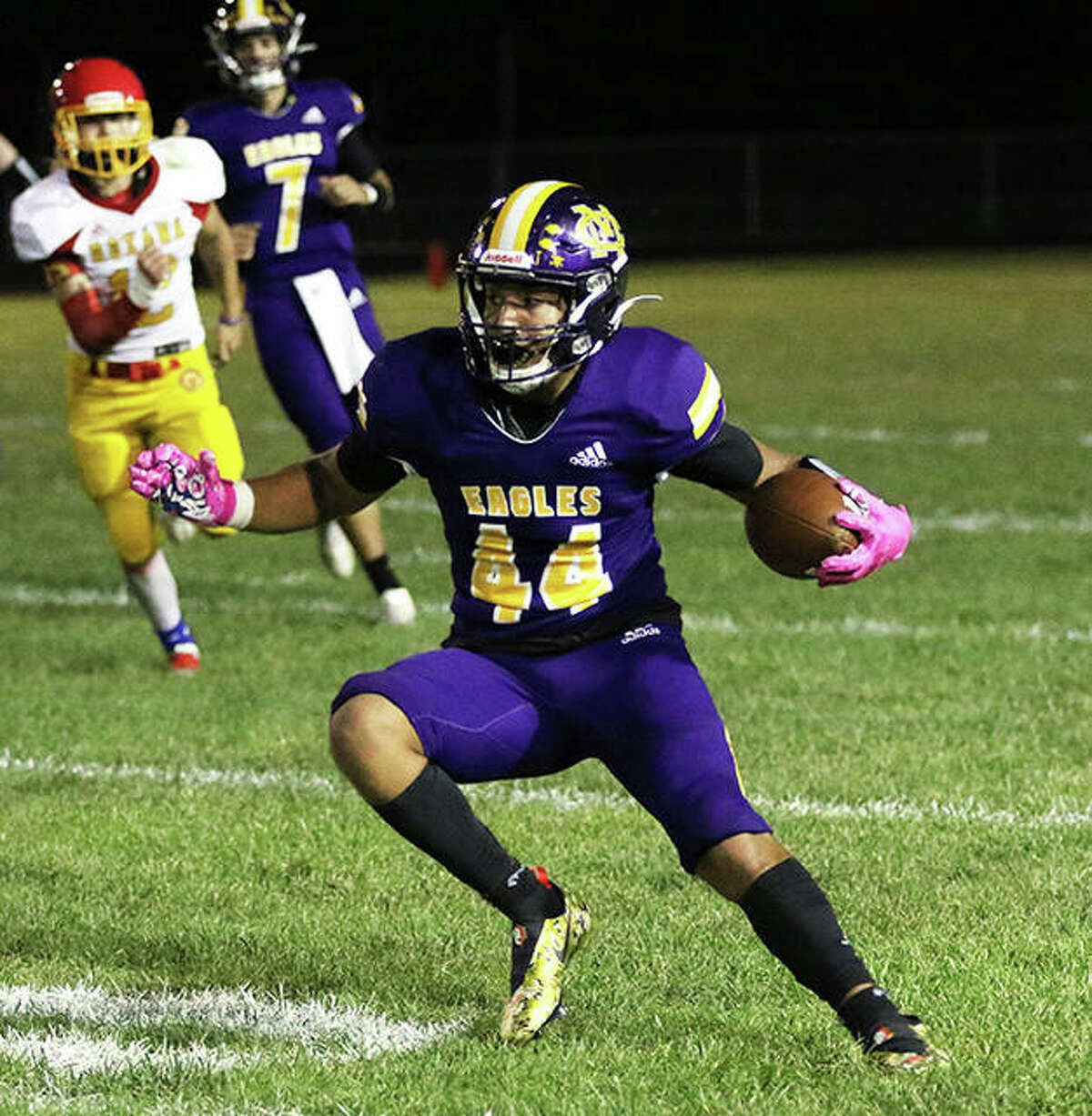CM's Miguel Gonzalex makes a cut in a game against Roxana on Sept. 10 at Hauser Field in Bethalto. CM plays a Mississippi Valley Conference game at Waterloo on Friday night.
