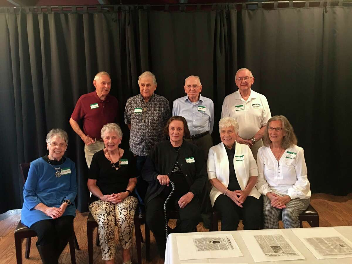 The Manistee High School Class of 1950 held its71st reunion on Sept 11at the Bungalow Inn. The classmates pictured (front row, left to right)Dolores Hutchinson Widgren, Jean Kenny Stevenson, Mary Ellen Roosa Hagel, Diane Pfeiffer Somsel and Vicki Wright Olen; and (back row)Louis Lidtke, Ted Ross, Roger Smithe and Frank Schubert. (Courtesy photo)