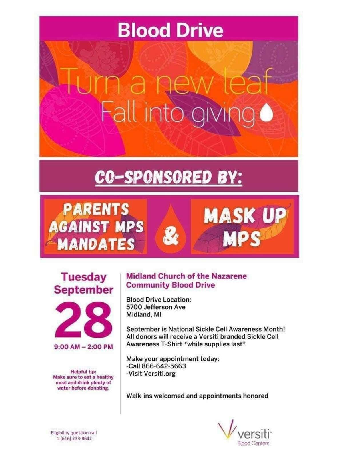 """""""Parents Against MPS Mask Mandates"""" and """"Mask Up MPS"""" are co-sponsoring a blood drive on Tuesday, Sept. 28 at Midland Church of the Nazarene."""