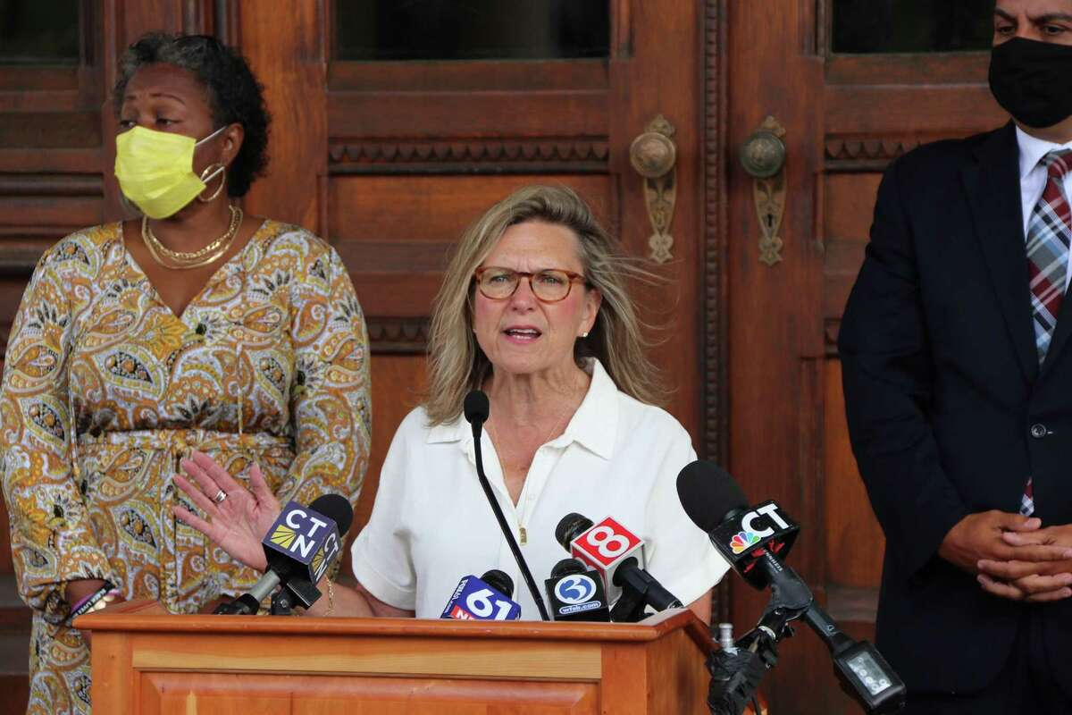 State Sen. Julie Kushner speaks on Thursday, Sept. 23, 2021, in Hartford, Conn. on the issue of the state Department of Labor's efforts to recover overpayments to people receiving unemployment compensation during the COVID-19 pandemic. (Photo courtesy Connecticut Senate Democrats)