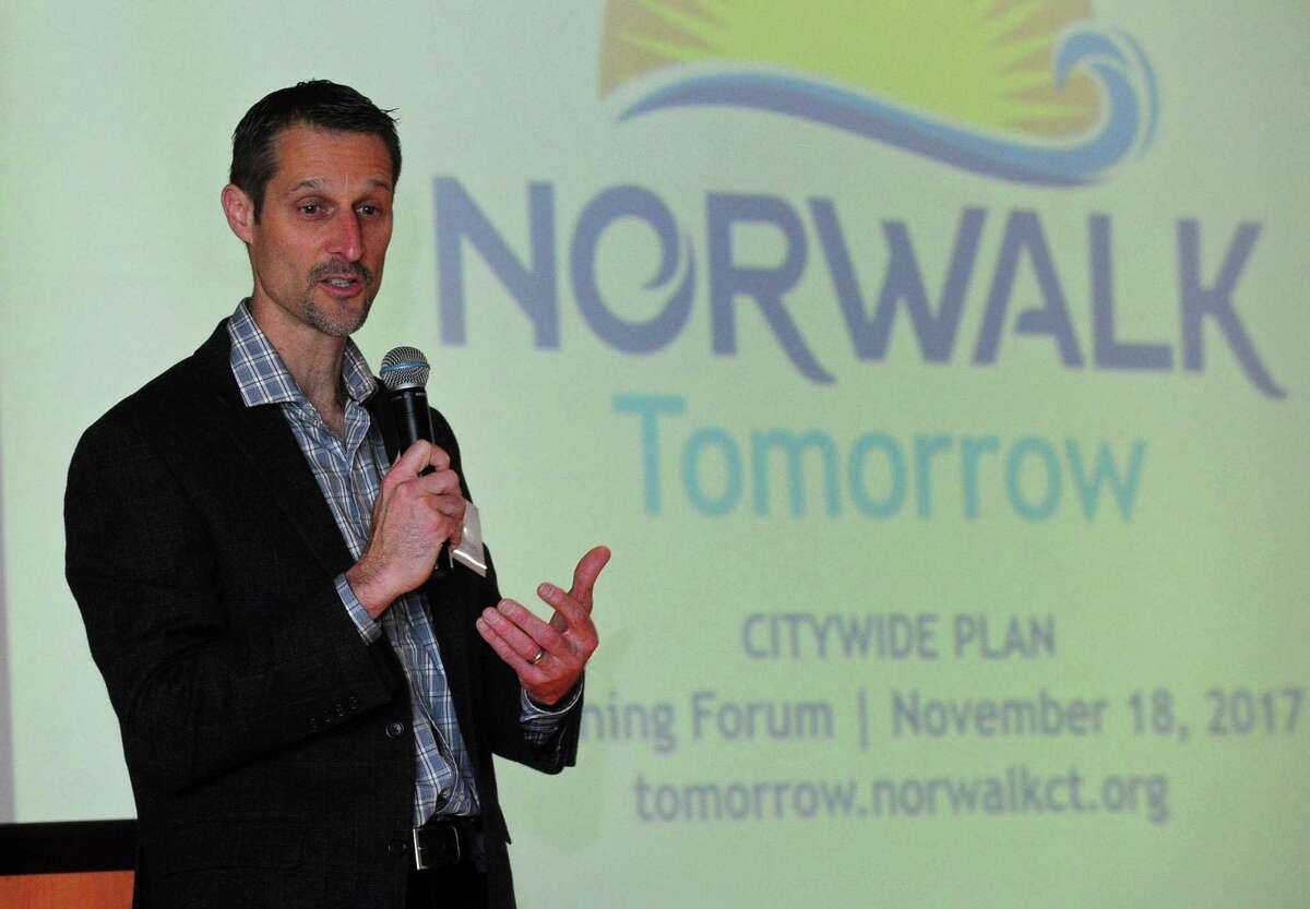 Norwalk Planning and Zoning Director Steve Kleppin gives his opening address as The Norwalk Plan of Conservation and Development Oversight Committee on Saturday, November 18, 2017, at the Center for Global Studies at Brien McMahon High School in Norwalk, Conn.