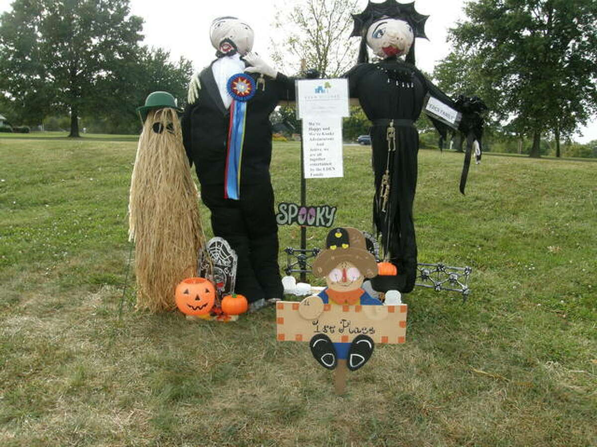 A scarecrow version of the Addams Family in the 2019 Glen Carbon Scarecrow Contest.