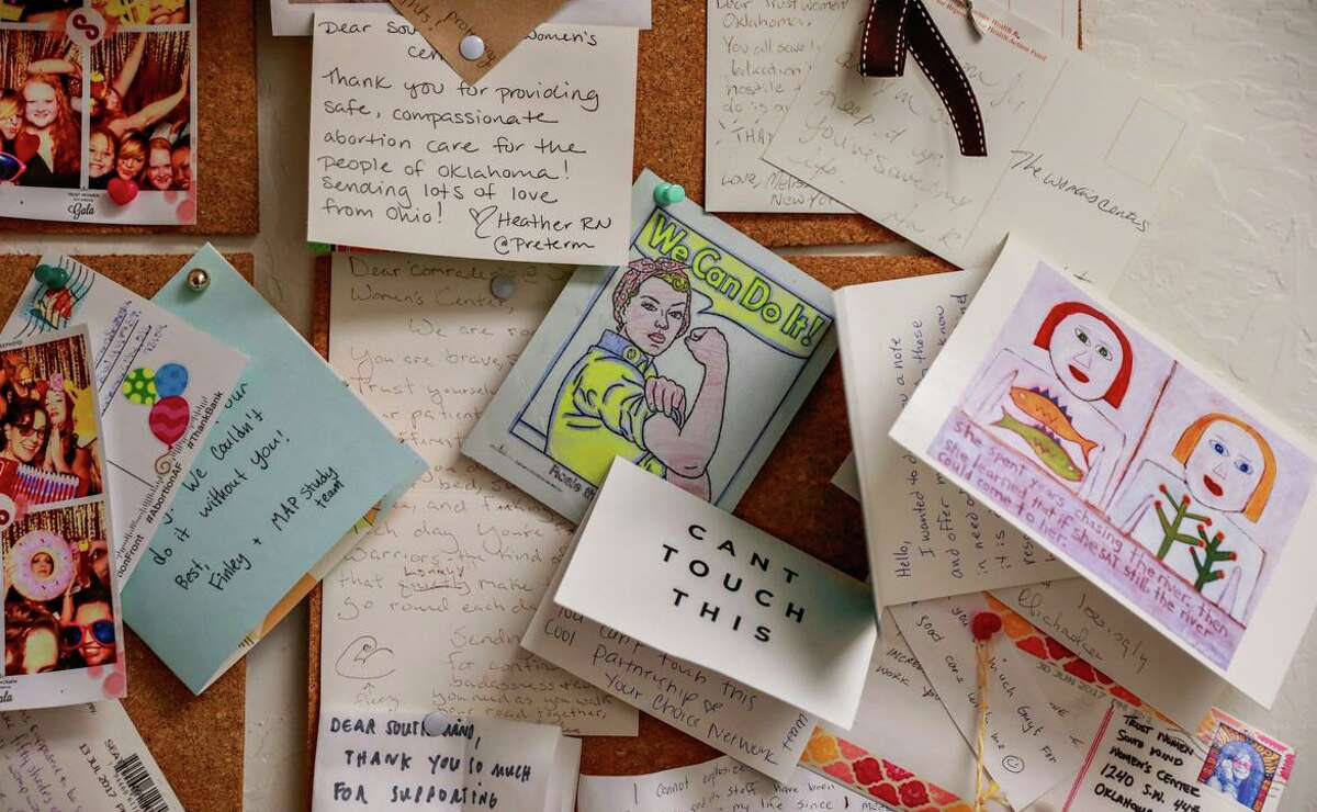 Thank-you notes are posted on the wall at the Trust Women clinic in Oklahoma City, one of the few clinics in Oklahoma to perform abortions. It is difficult for the clinic to find local doctors who will perform abortions, so several physicians make trips there from out of state.