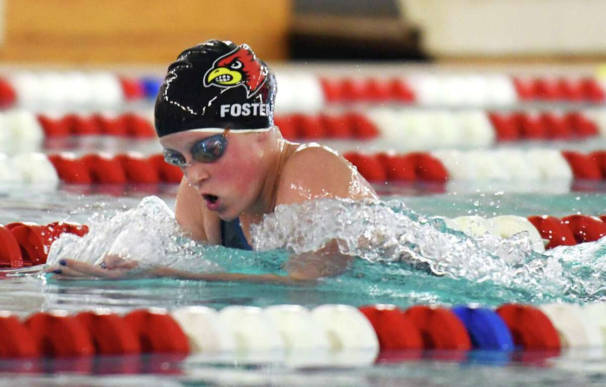 Greenwich's Payton Foster competes in the 200-meter IM event during a meet between Darien and Greenwich at Greenwich High in 2020.